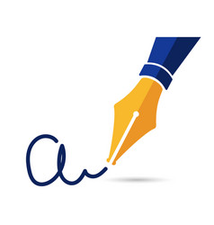 Personal signature written with a fountain pen vector