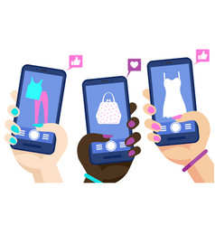 phone shopping online concept hands vector image