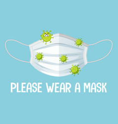 please wear mask sign vector image