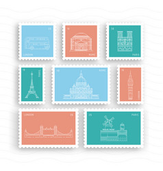 postage stamps with architectural landmarks vector image