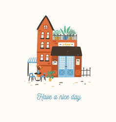 postcard template with facade of cute store shop vector image