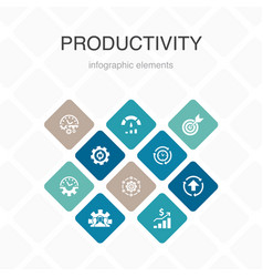 Productivity infographic 10 option color design vector