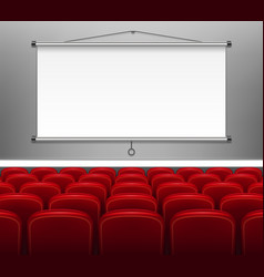 Projector screen with red seats for presentation vector