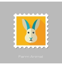 Rabbit flat stamp Animal head vector image