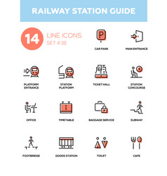 Railway station guide - modern simple icons vector