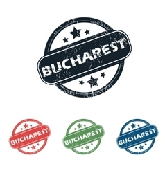 Round Bucharest city stamp set vector
