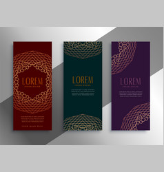 Royal vintage style ethnic labels or banners set vector
