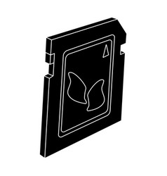 Sd card icon in black style isolated on white vector