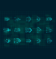 set futuristic hud blue arrows cyberpunk vector image