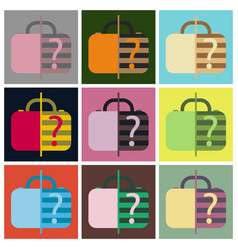 set of icons in flat design for airport baggage vector image