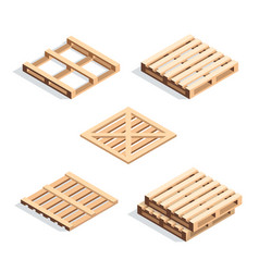 set of isometric wooden pallets vector image