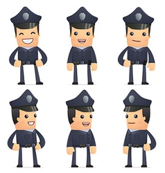set of policeman character in different poses vector image vector image