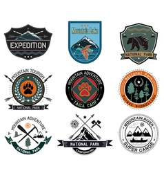 set of vintage camping and outdoor activity logo vector image