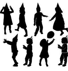 silhouette of children vector image