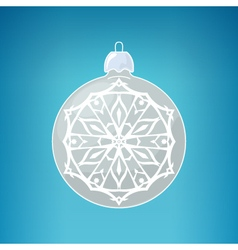 Silver Ball with Snowflake Merry Christmas vector