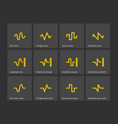 Sine triangle square sawtooth wave types icons vector