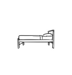 single bed hand drawn outline doodle icon vector image