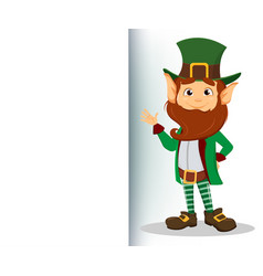 smiling cartoon character leprechaun with green vector image
