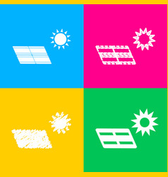solar energy panel eco trend concept sign four vector image