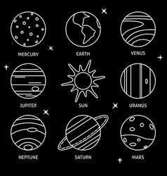 solar system planets icon set in thin line style vector image
