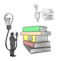 source of idea from books sketch vector image