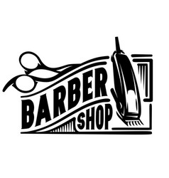 Stylish logo for barbershop with scissors vector