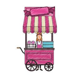Sugar cotton cart scribble vector