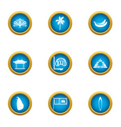 tropical assist icons set flat style vector image
