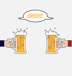 two businessmans hand holding two beer mugshands vector image