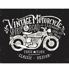 Vintage motorcycle Hand drawn grunge vintage with vector