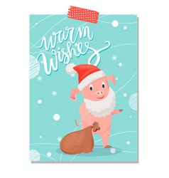 warm wishes piglet symbol of new year with sack vector image