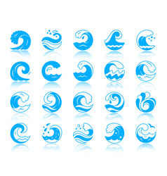 Wave simple color silhouette icons set vector