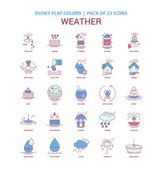 Weather icon dusky flat color - vintage 25 icon vector