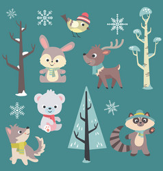 winter time baby animals set vector image