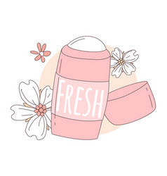 Women deodorant for girls pink color with flowers vector