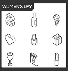 womens day isometric icons vector image