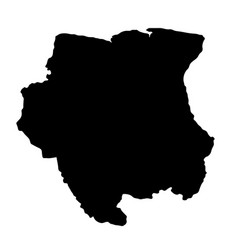 black silhouette country borders map of suriname vector image