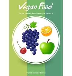 Brochure cover design with fruits icons vector