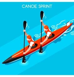 Kayak Sprint Double 2016 Summer Games 3D vector image vector image
