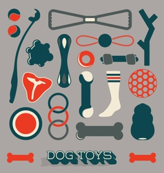Set of Dog Toy Icons and Objects vector image