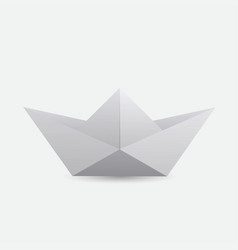 a white origami boat vector image