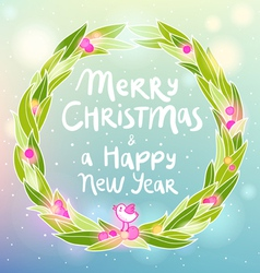 Christmas and New year wreath with a bird greeting vector image vector image