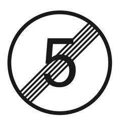 end maximum speed limit 5 sign line icon vector image vector image
