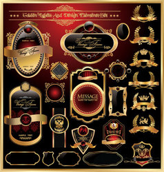 golden labels and design elements set vector image