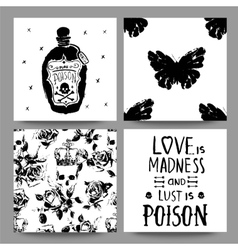 Gothic romantic cards collection Scrap booking vector image