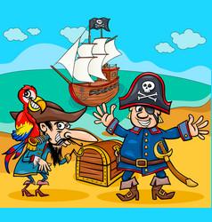 pirates on treasure island cartoon vector image