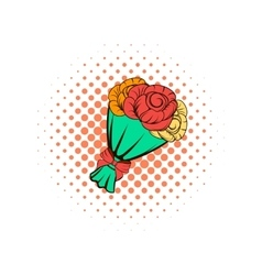Bouquet of roses comics icon vector image