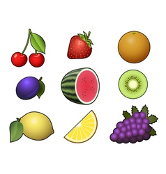 Fruits collection isolated on white background vector image