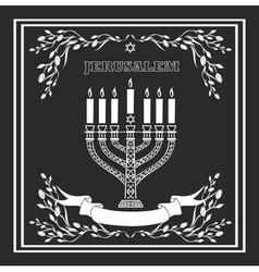 Jerusalem holiday background with menorah vector
