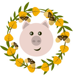 Pig and leafy wreath vector